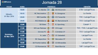 Liga Adelante matchday 28 kick off times