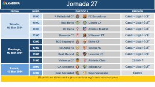 Liga BBVA Matchday 27 Schedule