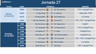 Liga Adelante matchday 27 schedule