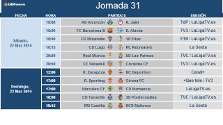 Liga Adelante matchday 31 schedule