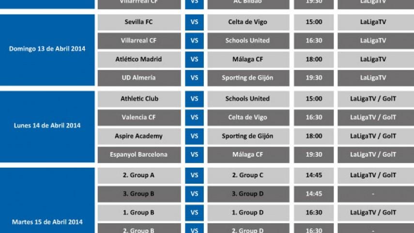Horarios del I LFP Aspire Challenge sub-15