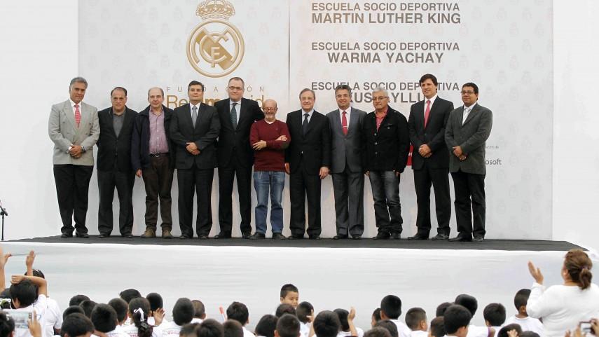 La LFP y Florentino Pérez visitaron las escuelas del Real Madrid en Perú