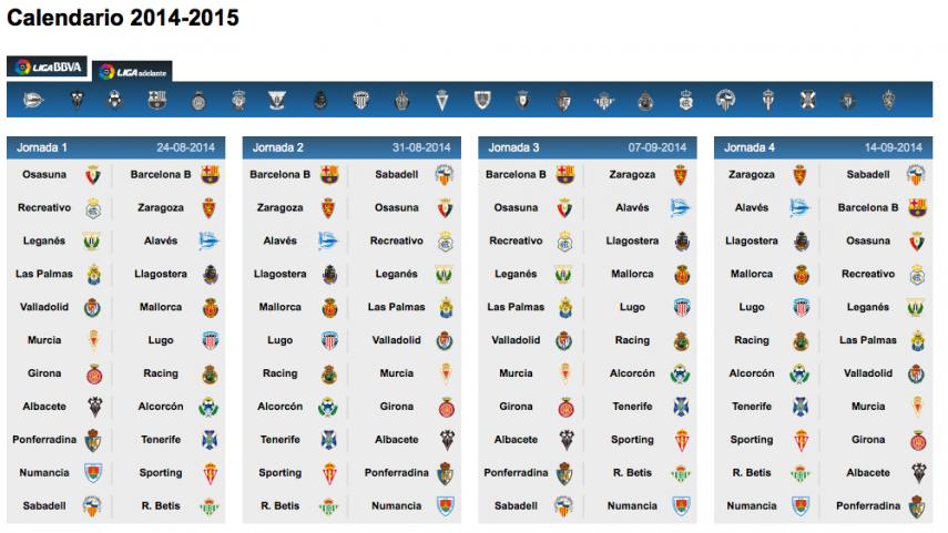 Anunciado el calendario para el curso 2014/15 de la Liga Adelante