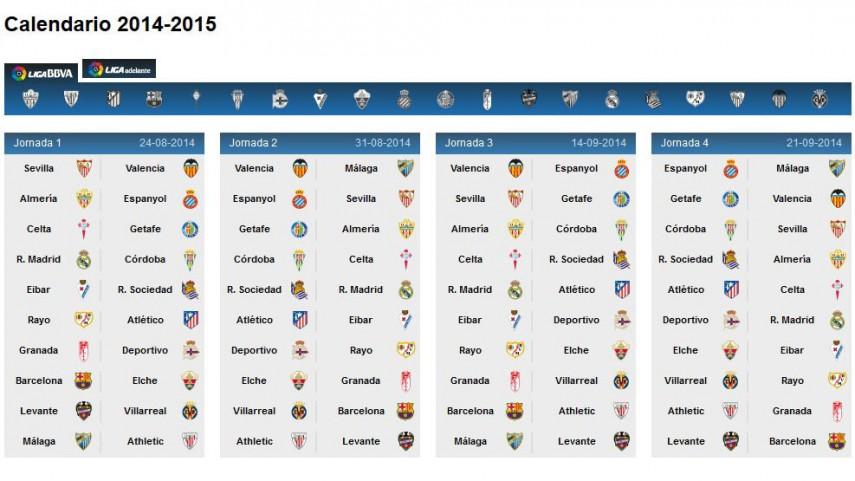 Conoce el calendario de la Liga BBVA 2014/15