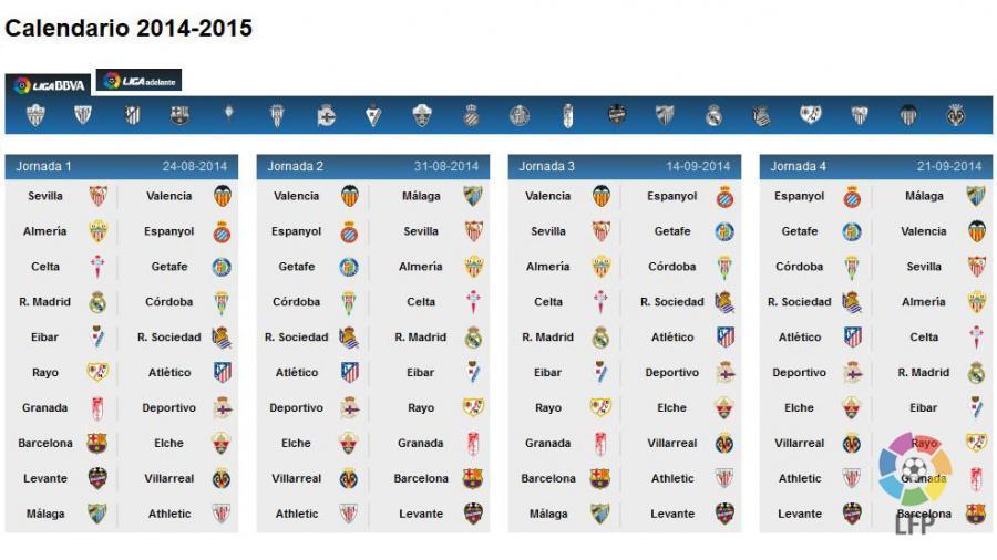 Calendario De La Liga Espanola De Futbol.Conoce El Calendario De La Liga Bbva 2014 15 Noticias Liga De