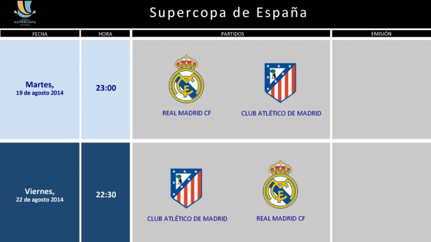 Horarios de la Supercopa de España