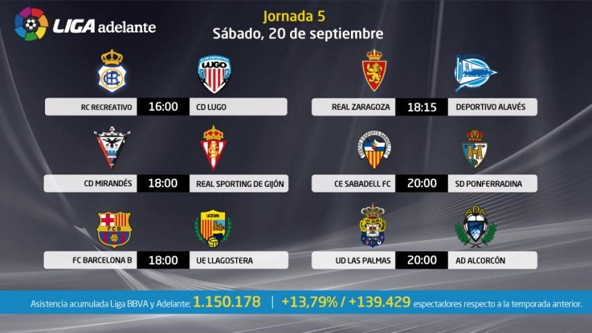 Seis partidos abren la jornada 5 de Liga Adelante