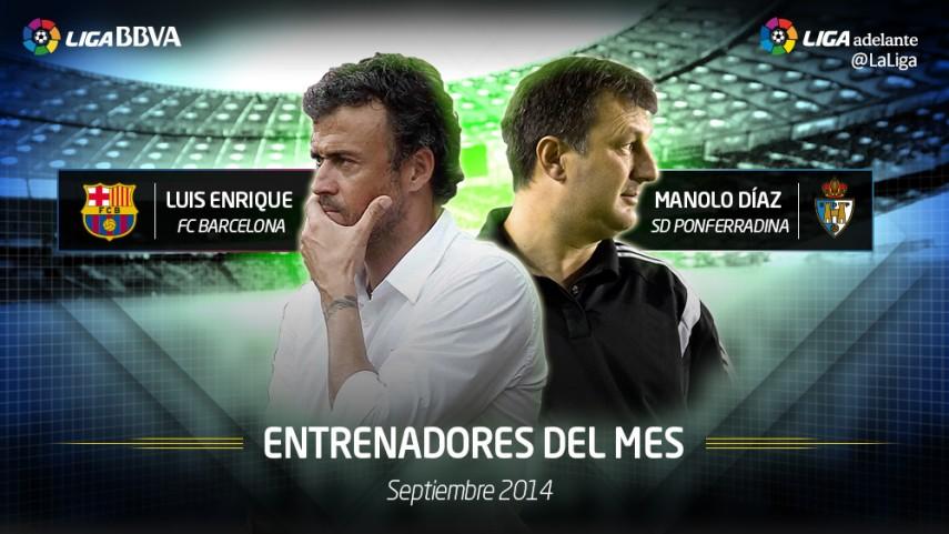 Luis Enrique y Manolo Díaz, mejores entrenadores de septiembre