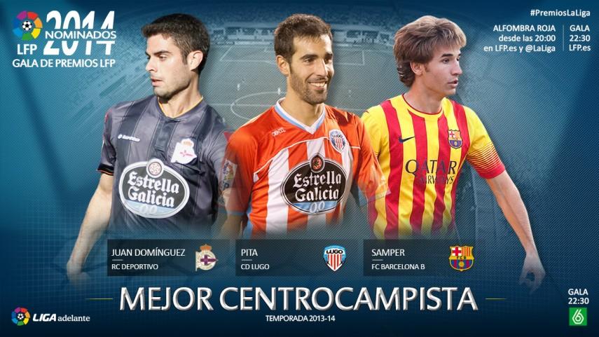 Nominados al premio 'Mejor Centrocampista de la Liga Adelante 2013-14'
