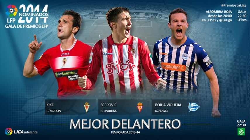 Nominados al premio 'Mejor Delantero de la Liga Adelante 2013-14'