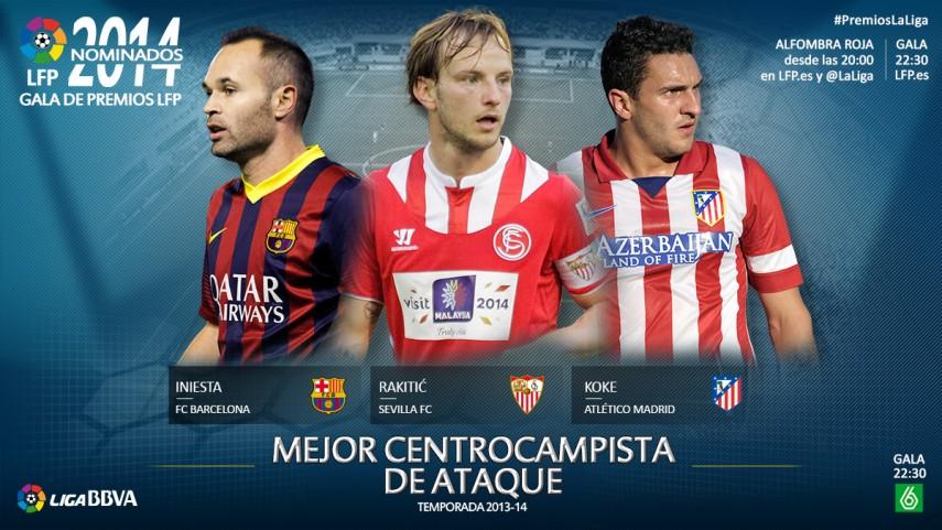 Nominados al premio 'Mejor Centrocampista de Ataque de la Liga BBVA 2013-14'