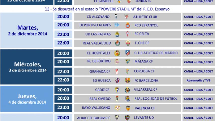 Horarios de la Copa del Rey