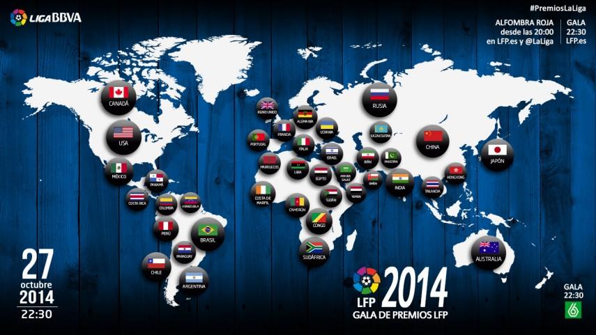 Más de 110 países televisarán la 'Gala de los Premios LFP 2014'