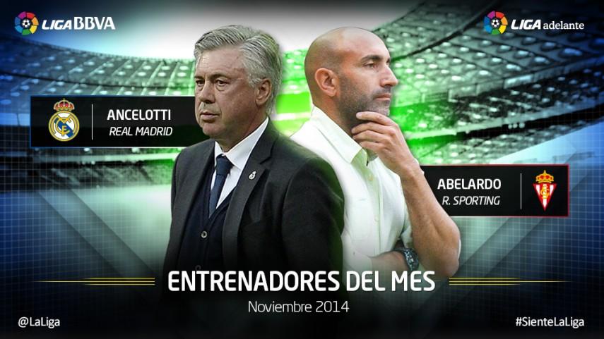 Ancelotti y Abelardo, mejores entrenadores de noviembre