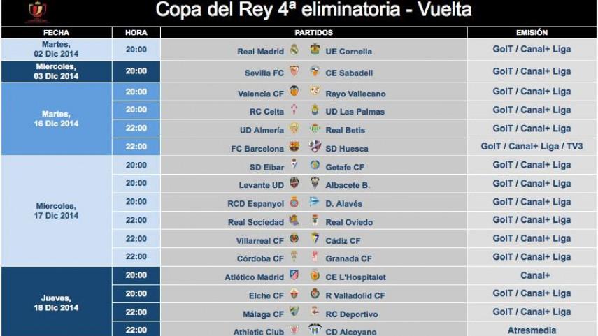 Modificación de horarios de la Copa del Rey