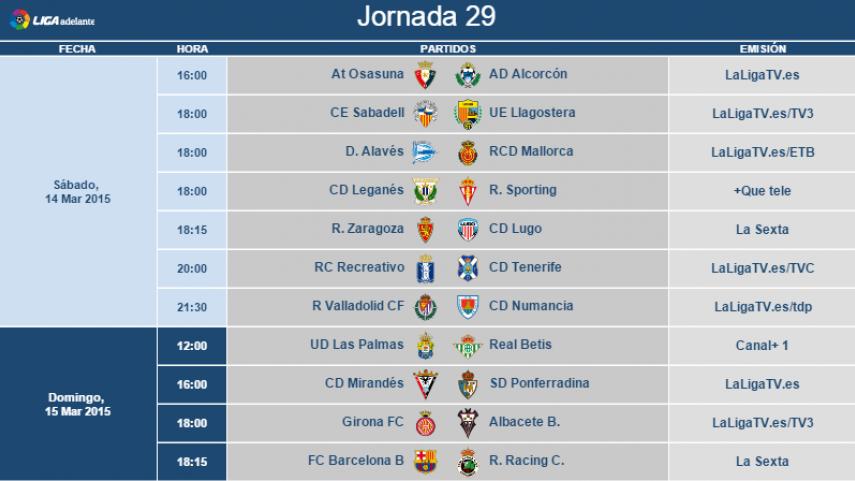 Modificación de horarios de la jornada 29 de la Liga Adelante