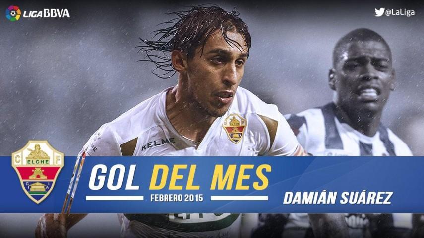 Damián Suárez marcó el mejor gol de la Liga BBVA en febrero