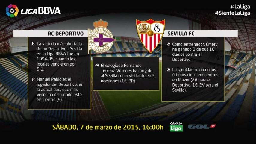 Deportivo y Sevilla buscan volver a la senda del triunfo