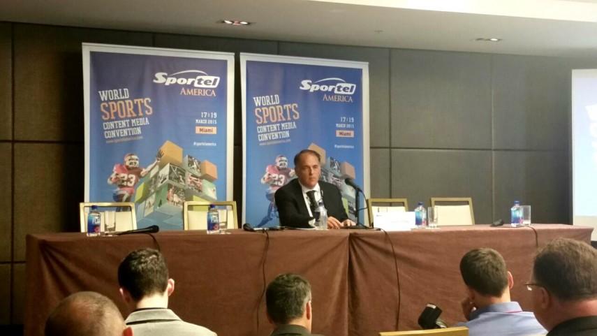 Javier Tebas, en Sportel América