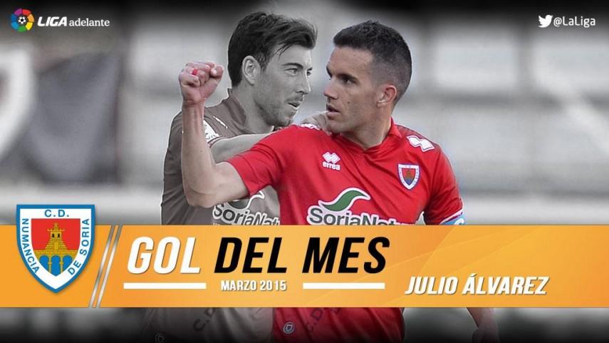 Julio Álvarez firmó el mejor gol de la Liga Adelante en marzo