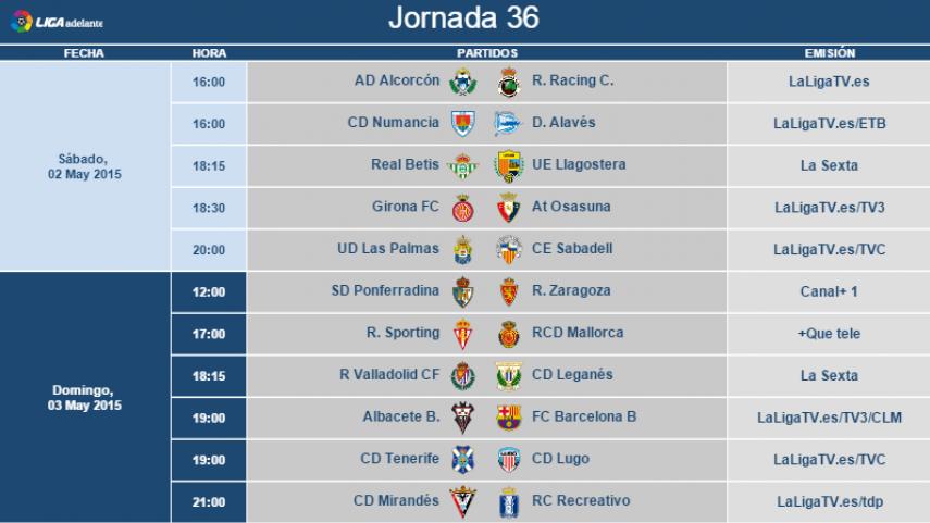 Modificación de horarios de la jornada 36 de la Liga Adelante