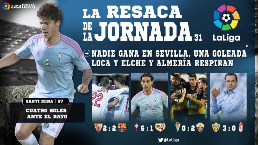 Nadie gana en Sevilla, una goleada loca y Elche y Almería respiran
