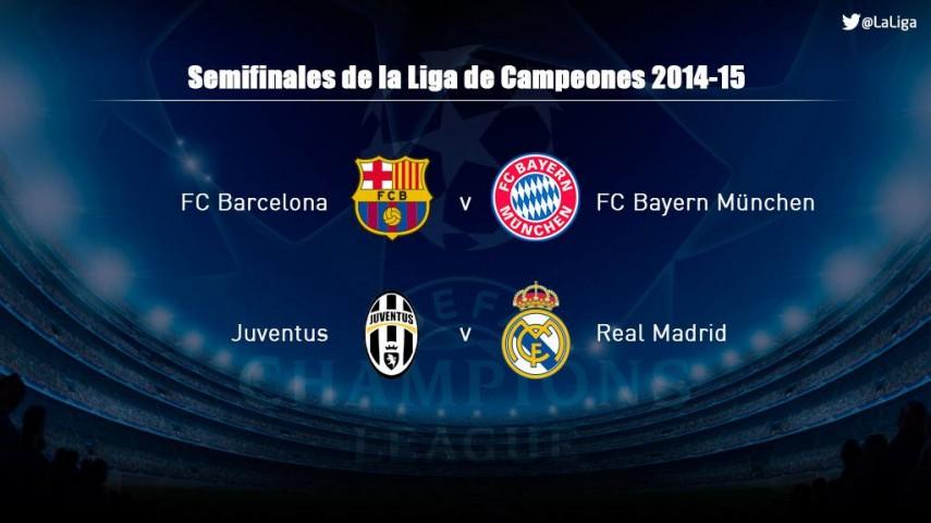 Barcelona-Bayern y Juventus-Real Madrid, semifinales de la Champions