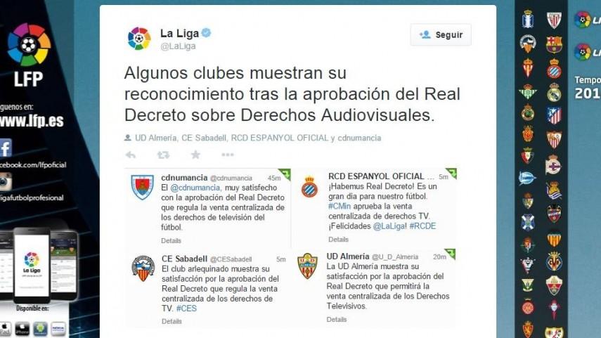 Los clubes de La Liga destacan la aprobación del Real Decreto en sus canales oficiales