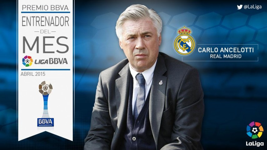 Carlo Ancelotti named Liga BBVA coach of the month for April