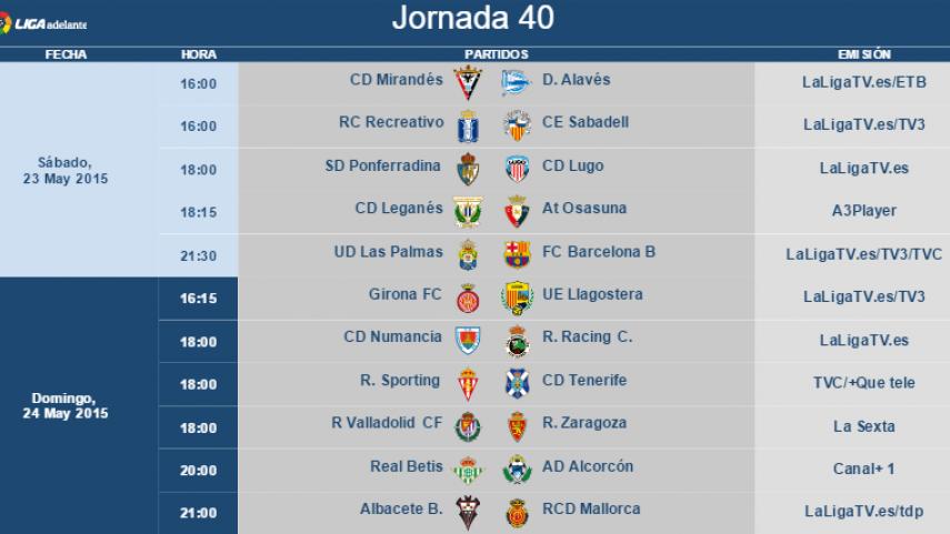 Modificación de horarios de la jornada 40 de la Liga Adelante