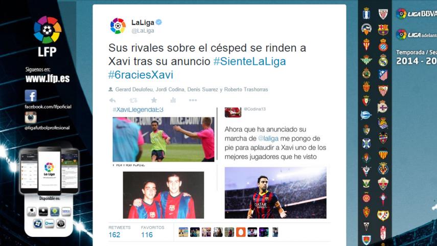 El fútbol español despide a Xavi Hernández en las redes