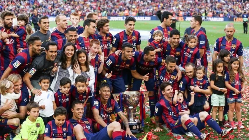 La celebración del campeón en el Camp Nou