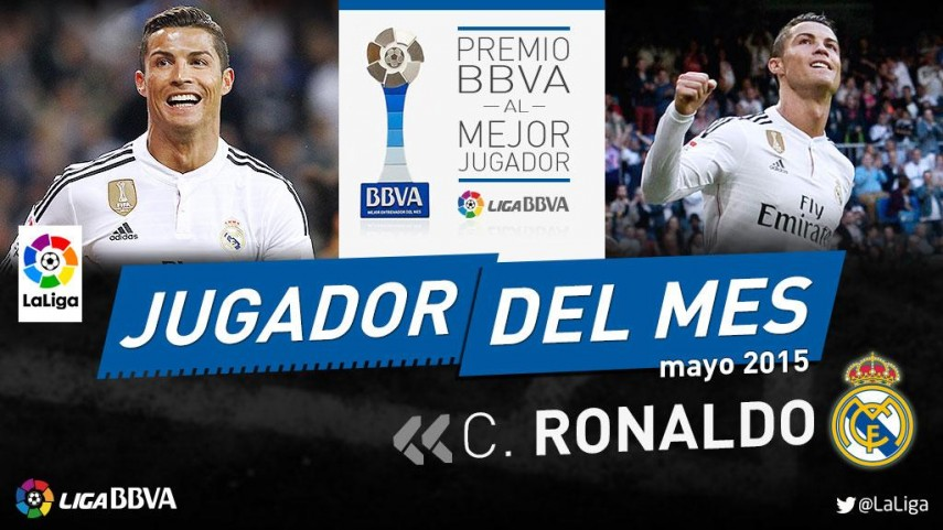 BBVA Awards: Cristiano Ronaldo chosen as Liga BBVA player of the month for May
