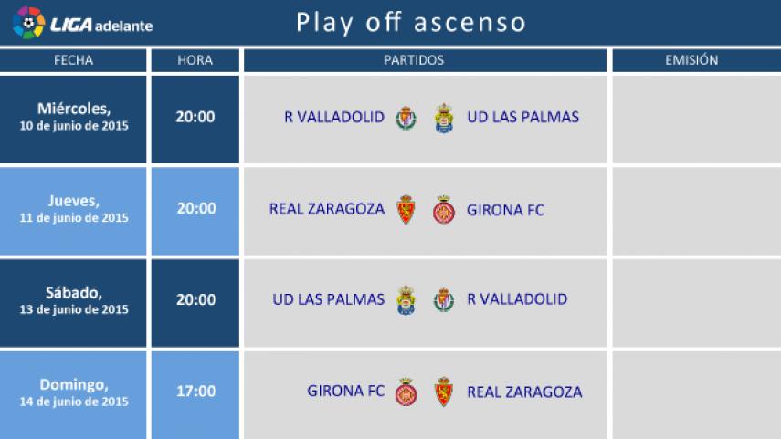 Definidos los horarios del play-off de ascenso
