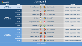 Kick-Off times for the eleventh matchday of Liga BBVA