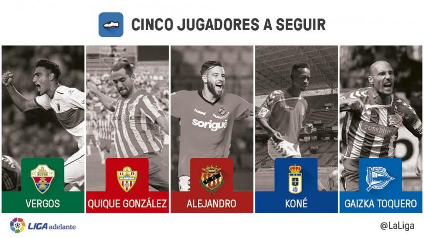 Cinco jugadores a seguir en la jornada 9 de la Liga Adelante