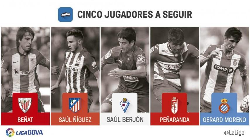 Cinco jugadores a seguir en la jornada 15 de la Liga BBVA