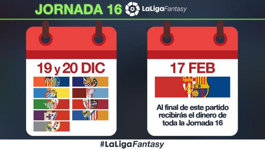 ¿Cómo se puntuará la jornada 16 en #LaLigaFantasy?