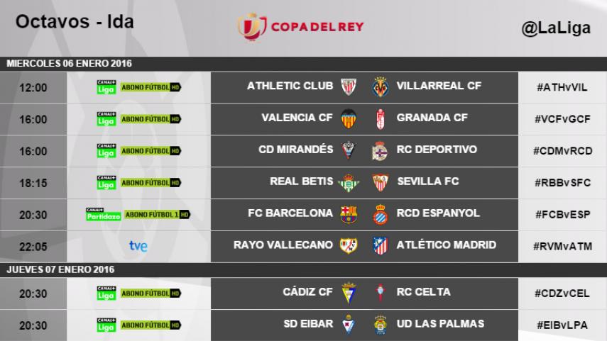 Horarios de la ida de octavos de final de la Copa del Rey