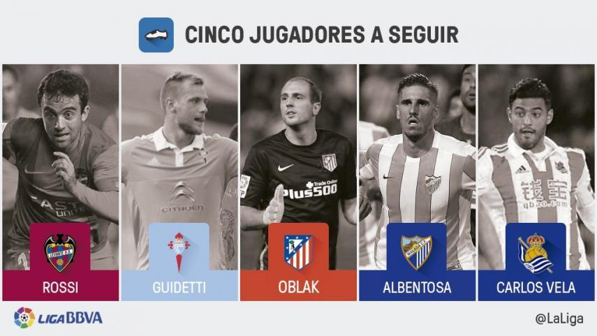 Cinco jugadores a seguir en la jornada 22 de la Liga BBVA