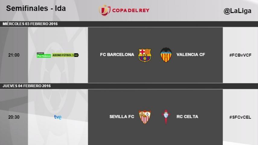 Horarios de la ida de semifinales de la Copa del Rey