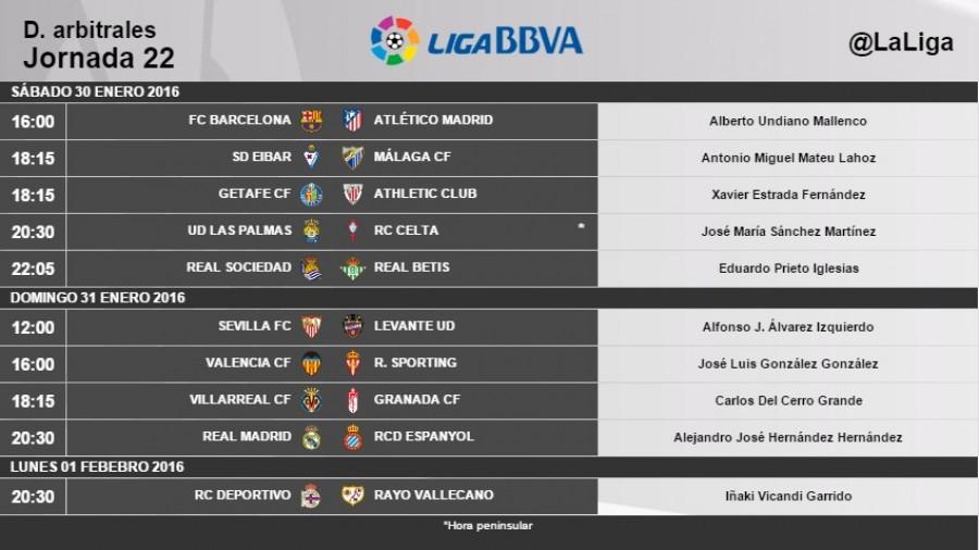 Árbitros para la jornada 22 de la Liga BBVA | Noticias | Liga de ...
