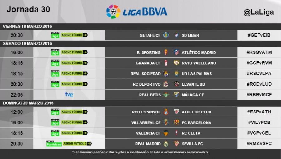 Horarios de la jornada 30 de la Liga BBVA | Noticias | Liga de ...