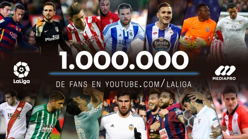 El canal 'LaLiga' supera el millón de suscriptores en YouTube