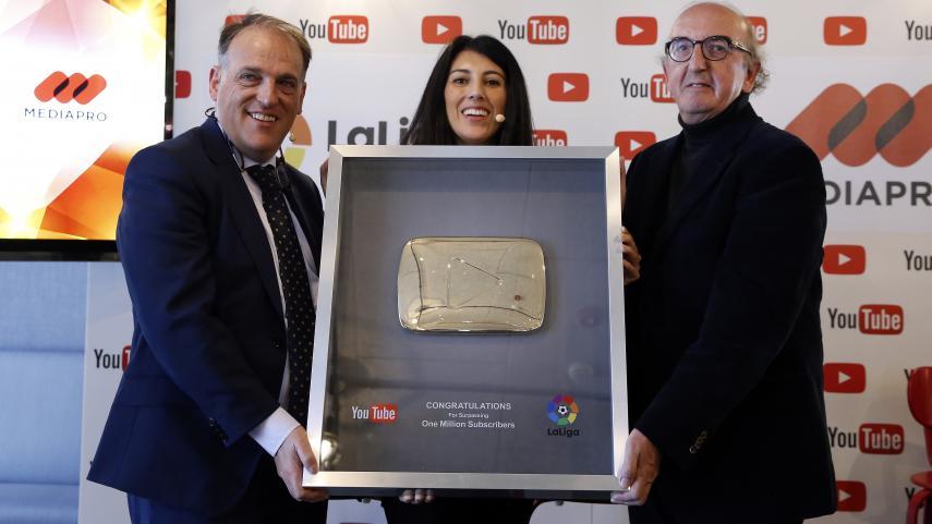 El canal de LaLiga, reconocido con el 'Botón de Oro' tras superar el millón de suscriptores en YouTube