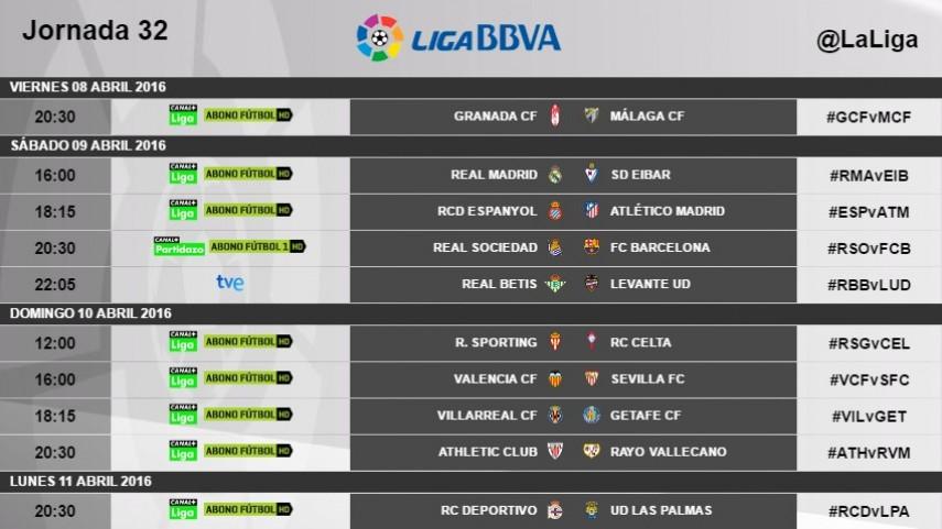 Actualización de horarios de la jornada 32 de la Liga BBVA