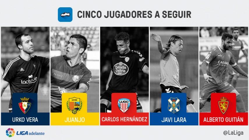 Cinco jugadores a seguir en la jornada 30 de la Liga Adelante