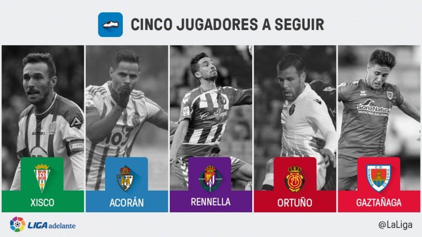 Cinco jugadores a seguir en la jornada 31 de la Liga Adelante