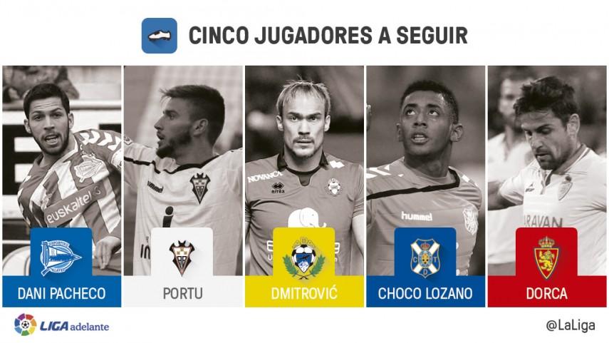 Cinco jugadores a seguir en la jornada 34 de la Liga Adelante