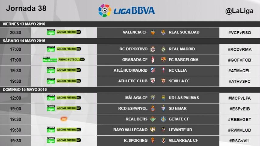 Modificación de los horarios de la jornada 38 de la Liga BBVA